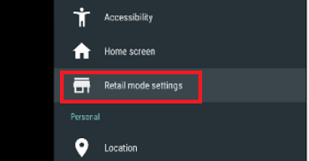 Retail Mode settings