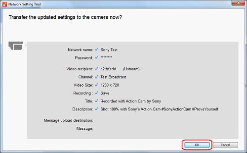 Transfer the settings to the camera now?