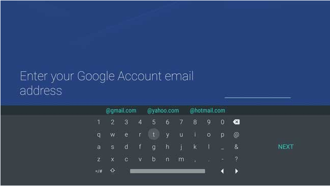 Android - Google account email keyboard
