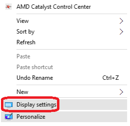 Display settings of a computer running Windows 10