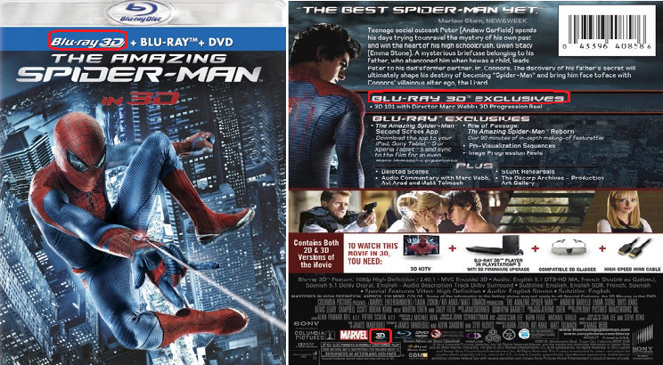 Spiderman 3D Blu-ray
