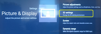 3D settings of an Android TV