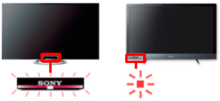 Diagram of side by side TVs showing location of power indicator on the bottom middle of one TV and the bottom left side of the other TV
