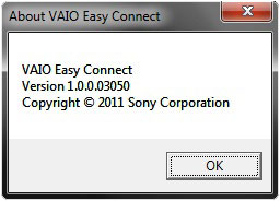 [Kuva: About VAIO Easy Connect -ikkuna ja versiotiedot]