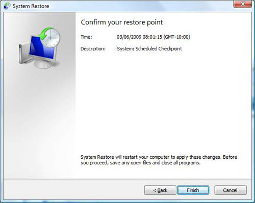 ><br> <figure>figure 3 - System Restore - Confirm your restore point</figure><br> <span style=