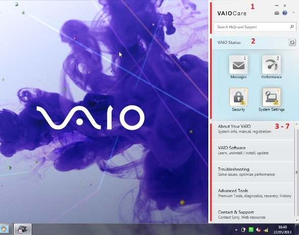 Vaio Care main screen