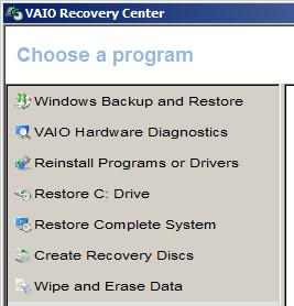 VAIO Recovery Center