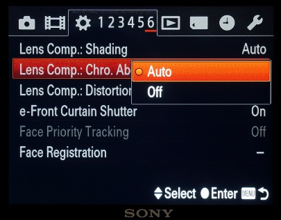 Lens compensation selection menu.