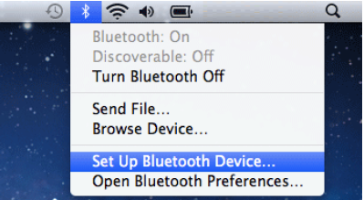 Bluetooth dropdown menu selection