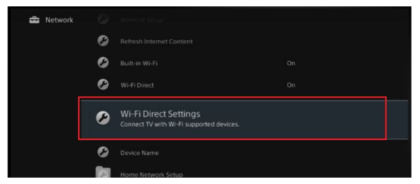 Wi-Fi Direct Settings (Configuración de Wi-Fi Direct)