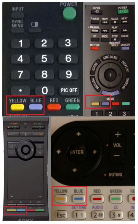Blue and Yellow buttons - remote