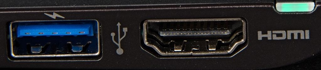 USB 3.0 port with lighting bolt