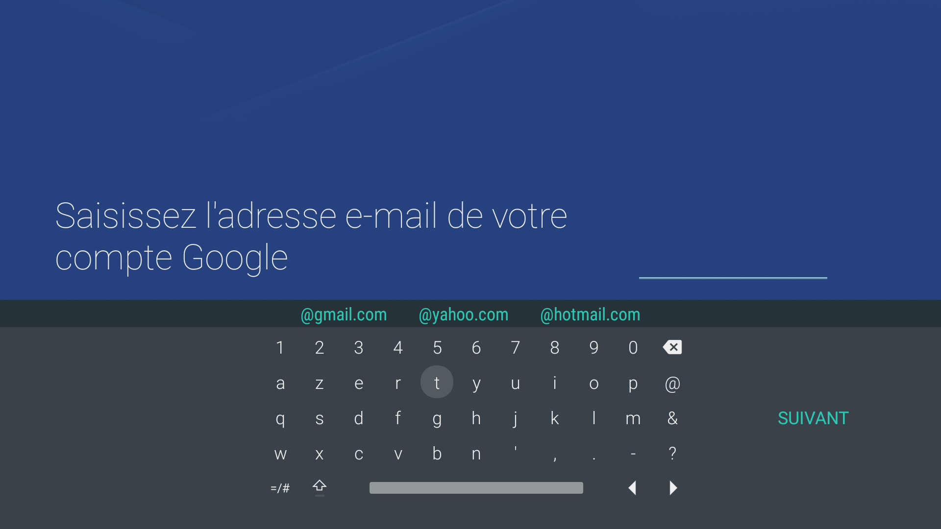 Clavier e-mail compte Android - Google