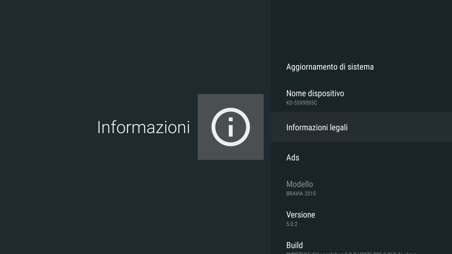 Android - Legal information (Android - Informazioni legali)