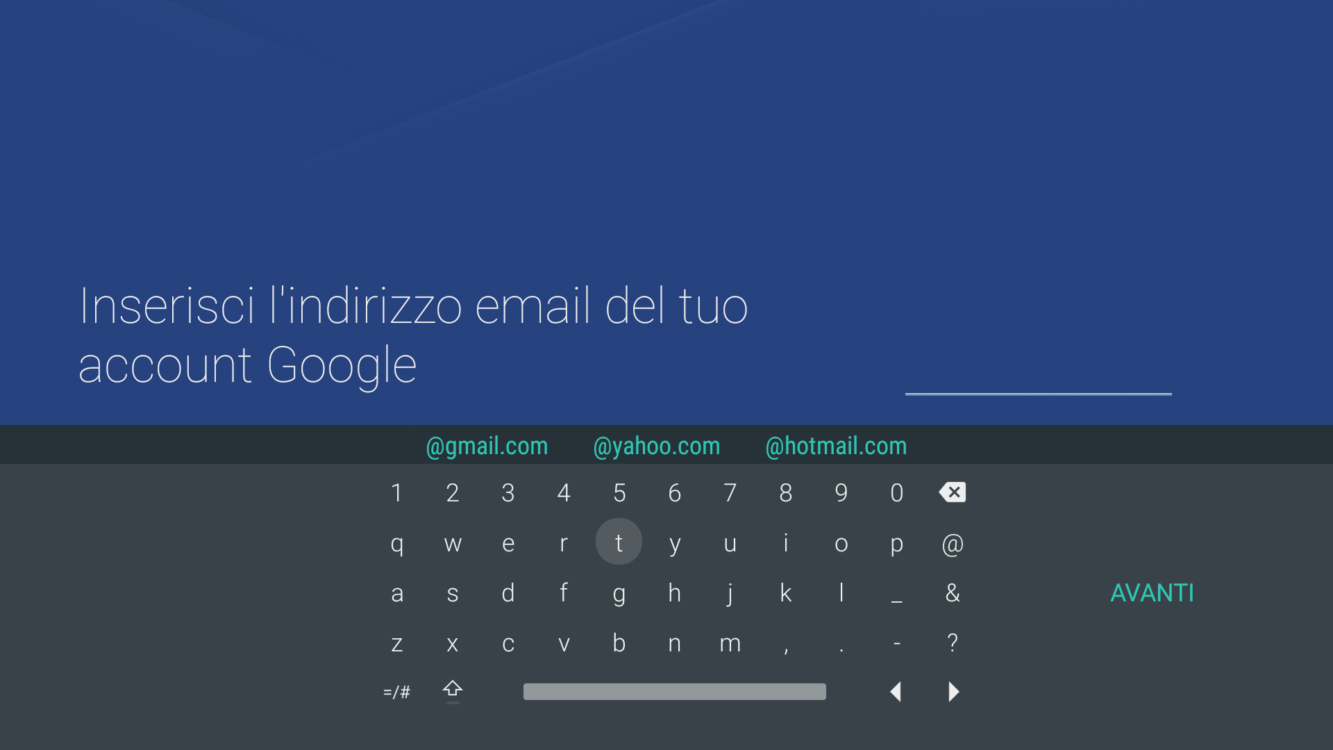 Android - Tastiera e-mail account Google
