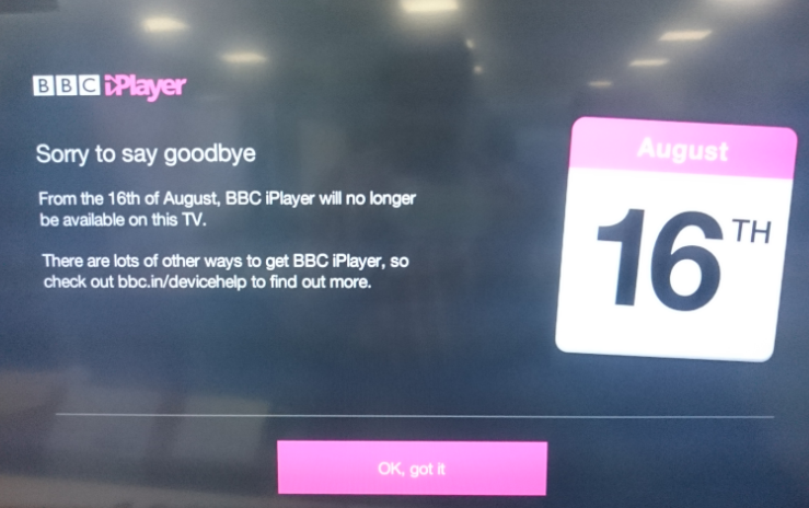 BBC iPlayer closure message