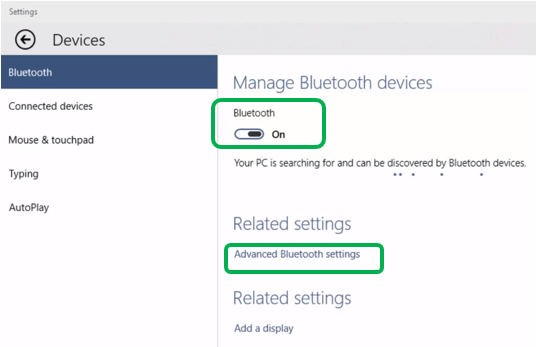 Ativação do Bluetooth no Windows 8
