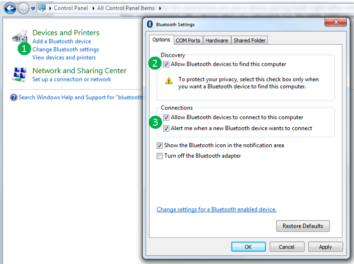 تمكين Bluetooth على Windows 7