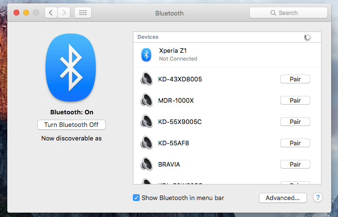 iOS Bluetooth enabling menu