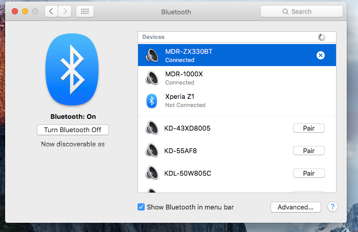 Bluetooth pairing Mac iOS step 2