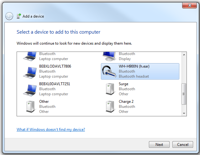 Windows 7 Bluetooth pairing 1