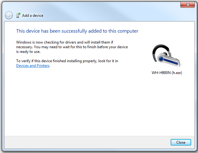 Windows 7 Bluetooth pairing 3