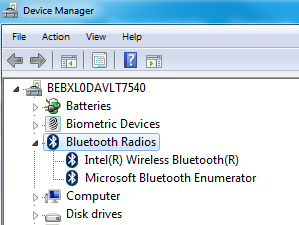 Captura de ecrã do adaptador de rede Bluetooth