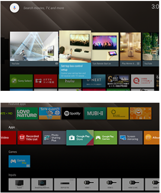 Android TV Home Menu Screen