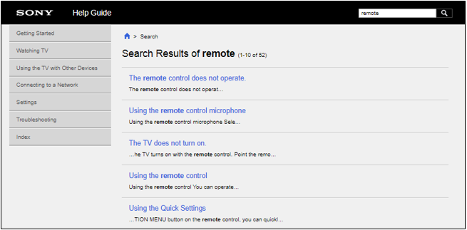 Search results page in the online TV Help Guide