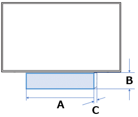 The appropriate material size to put under the TV. A: Width, B: Height, C: Depth