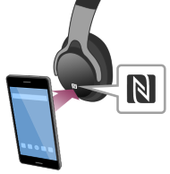 diagram of mobile device touching the N Mark on a pair of Bluetooth headphones