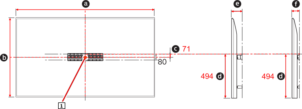 The left figure is the dimensions of the back of the TV (a: TV width, b: TV height, c: length from the center of the screen to the position of the screw holes at which the base will be attached). The right figure is a side view of the TV. (d: length from the bottom edge of the TV to the screw hole positions)