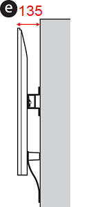 Figure of the side of the TV (e: Depth when wall mounted with standard mount)