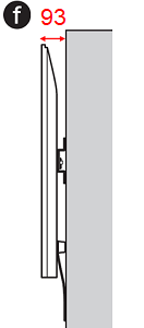 Figure of the side of the TV (f: Depth when wall mounted with slim mount)