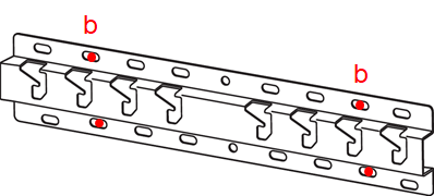 Image indicating the screw hole positions where the base will be mounted on the wall