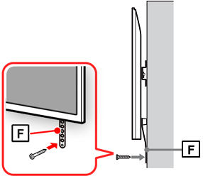 Figure of the side of the TV (F: secure belt in place with a screw)