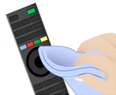 Clean the remote using a cloth