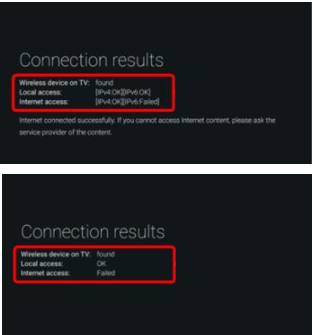 Connection results for wireless connection