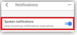 Spoken notifications enable