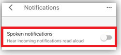 Spoken notifications disable