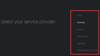 Select your service provider