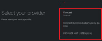 Reconfirmation screen of service provider