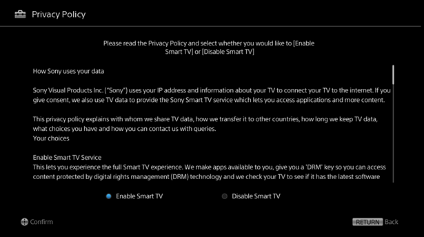How do I set up my Bravia TV for the first time? (other than