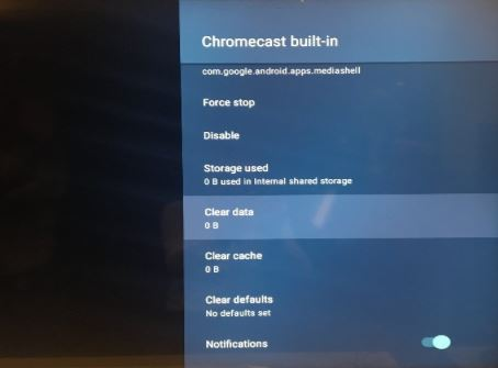 Chromecast built-in: Clear data