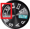 mode dial showing 1 and 2