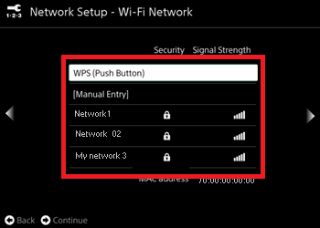 Network Setup screen