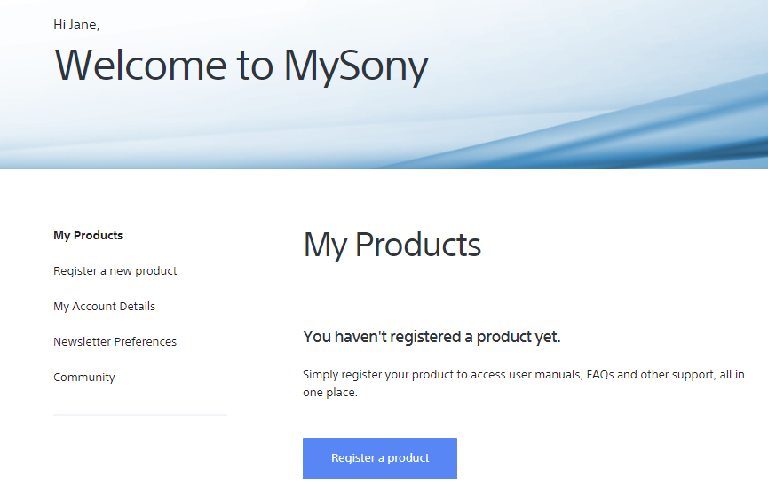 Registratieproces MySony