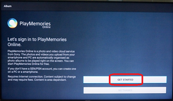 PlayMemories Online home screen