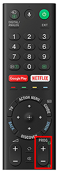 Remote control PROG + button