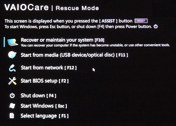VAIO Care Rescue Mode